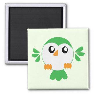 Cute Green Bird Square Magnet