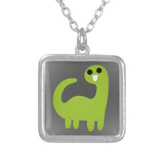 Cute Green Brontosaurus on Grey Custom Jewelry