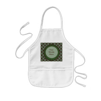 Cute green brown crisscross pattern kids apron