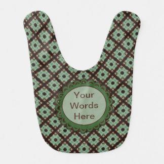 Cute green brown crisscross pattern baby bibs