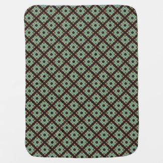 Cute green brown crisscross pattern buggy blankets