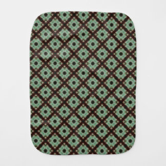 Cute green brown crisscross pattern baby burp cloths