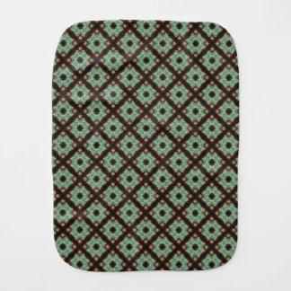 Cute green brown crisscross pattern burp cloth