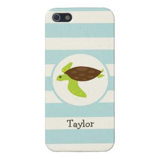Cute Green & Brown Sea Turtle; Robins Egg Blue iPhone 5/5S Cover
