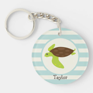 Cute Green & Brown Sea Turtle; Robins Egg Blue Double-Sided Round Acrylic Key Ring
