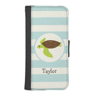 Cute Green & Brown Sea Turtle; Robins Egg Blue Phone Wallets