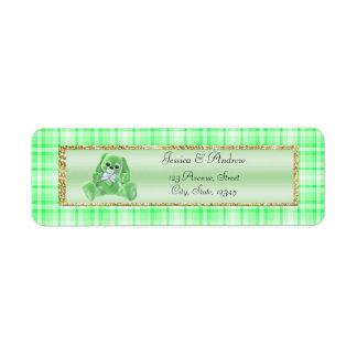 Cute Green Bunny Baby Shower Return Address Label