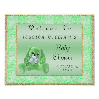 "Cute Green Bunny ""Welcome"" Poster"