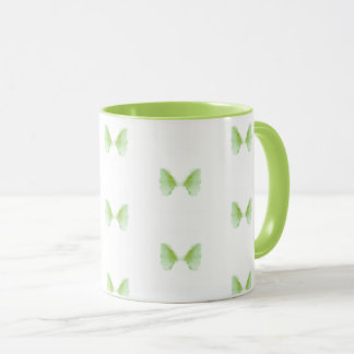 Cute Green Butterfly Abstract Pattern Coffee Mug