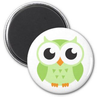 Cute green cartoon baby owl 6 cm round magnet