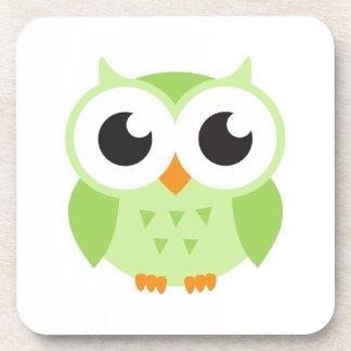 Cute green cartoon baby owl drink coaster
