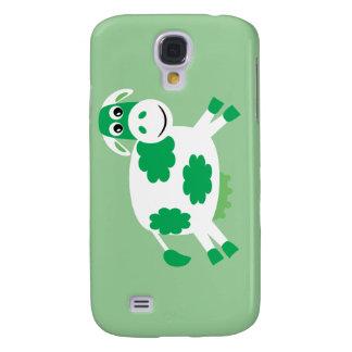 Cute Green Cartoon Cow Galaxy S4 Case