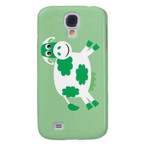 Cute Green Cartoon Cow Samsung Galaxy S4 Cases