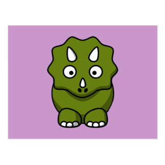Cute Green Cartoon Dinosaur Postcard