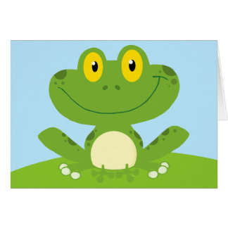 Cute Green Cartoon Frog Hoppy Birthday Greeting Card