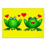 Cute Green Cartoon Frogs Love Hearts Yellow Blank Greeting Card