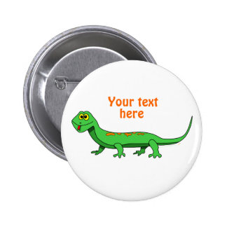 Cute Green Cartoon Lizard Kids Reptile Pinback Buttons