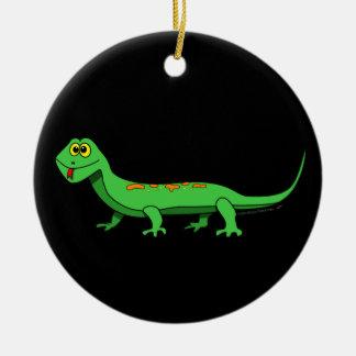 Cute Green Cartoon Lizard Kids Reptile Christmas Ornament