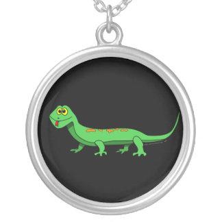 Cute Green Cartoon Lizard Kids Reptile Silver Plated Necklace