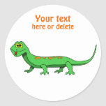 Cute Green Cartoon Lizard Kids Reptile Sticker