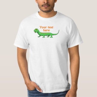 Cute Green Cartoon Lizard Kids Reptile T-Shirt