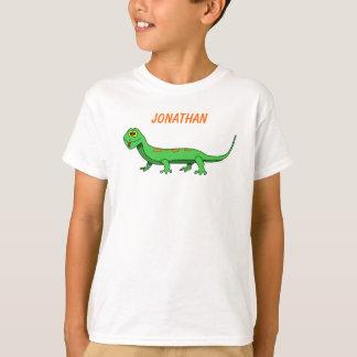 Cute Green Cartoon Lizard Kids Reptile T Shirts