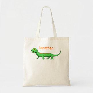 Cute Green Cartoon Lizard Kids Reptile Tote Bag