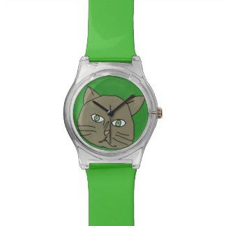 cute green cat time watch