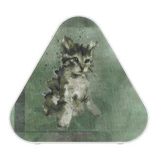 Cute green cat Watercolor Painting Illustration