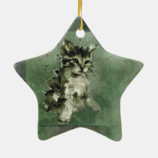 Cute green cat Watercolor Painting Illustration Ceramic Star Decoration