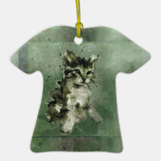 Cute green cat Watercolor Painting Illustration Double-Sided T-Shirt Ceramic Christmas Ornament