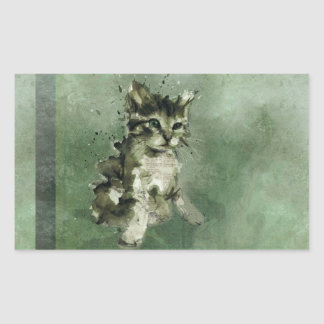 Cute green cat Watercolor Painting Illustration Rectangular Sticker