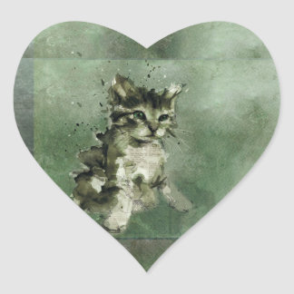 Cute green cat Watercolor Painting Illustration Heart Sticker