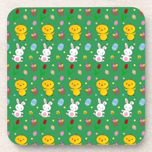 Cute green chick bunny egg basket easter pattern coaster
