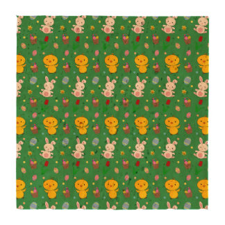 Cute green chick bunny egg basket easter pattern coasters
