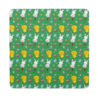 Cute green chick bunny egg basket easter pattern puzzle coaster
