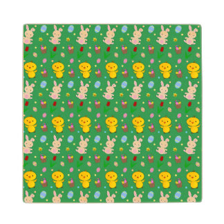 Cute green chick bunny egg basket easter pattern wood coaster