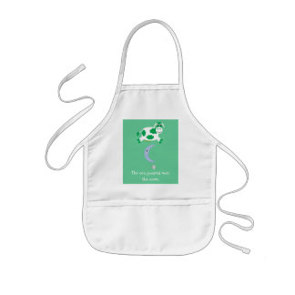 Cute Green Cow Jumping Over The Moon Kids Apron