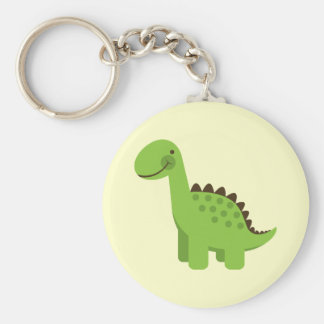 Cute Green Dinosaur Basic Round Button Key Ring