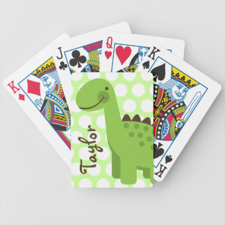 Cute Green Dinosaur Bicycle Playing Cards