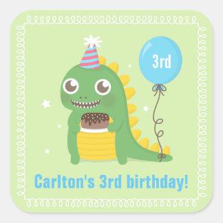 Cute Green Dinosaur Birthday Party Celebrations Square Sticker
