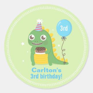 Cute Green Dinosaur Birthday Party Celebrations Round Sticker