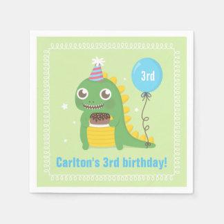Cute Green Dinosaur Birthday Party Supplies Disposable Serviettes