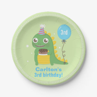 Cute Green Dinosaur Birthday Party Supplies 7 Inch Paper Plate