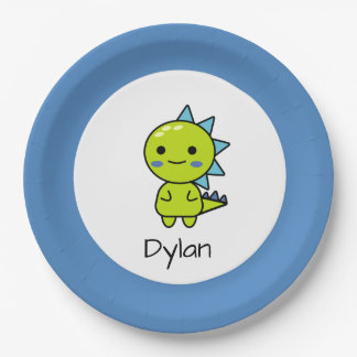 Cute Green Dinosaur Cartoon Birthday Paper Plate