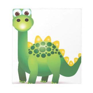 Cute green dinosaur cartoon notepad