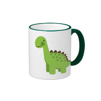 Cute Green Dinosaur Ringer Coffee Mug
