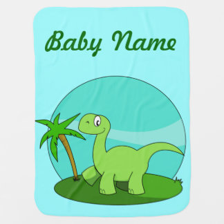 Cute Green Dinosaur Personalized Buggy Blankets