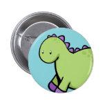 Cute Green Dinosaur Pinback Buttons