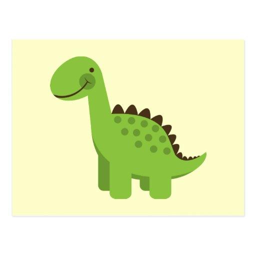 Cute Green Dinosaur Postcard